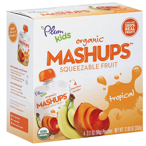 Plum Kids Organic Tropical Mashups Squeezable Fruit, 3.17 oz, 4 count, (Pack of 6)