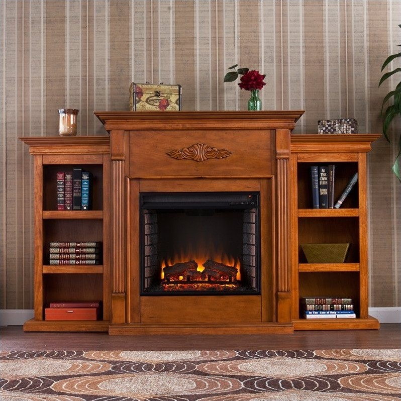 Southern Enterprises Fredricksburg Electric Fireplace w/ Bookcases in Pine