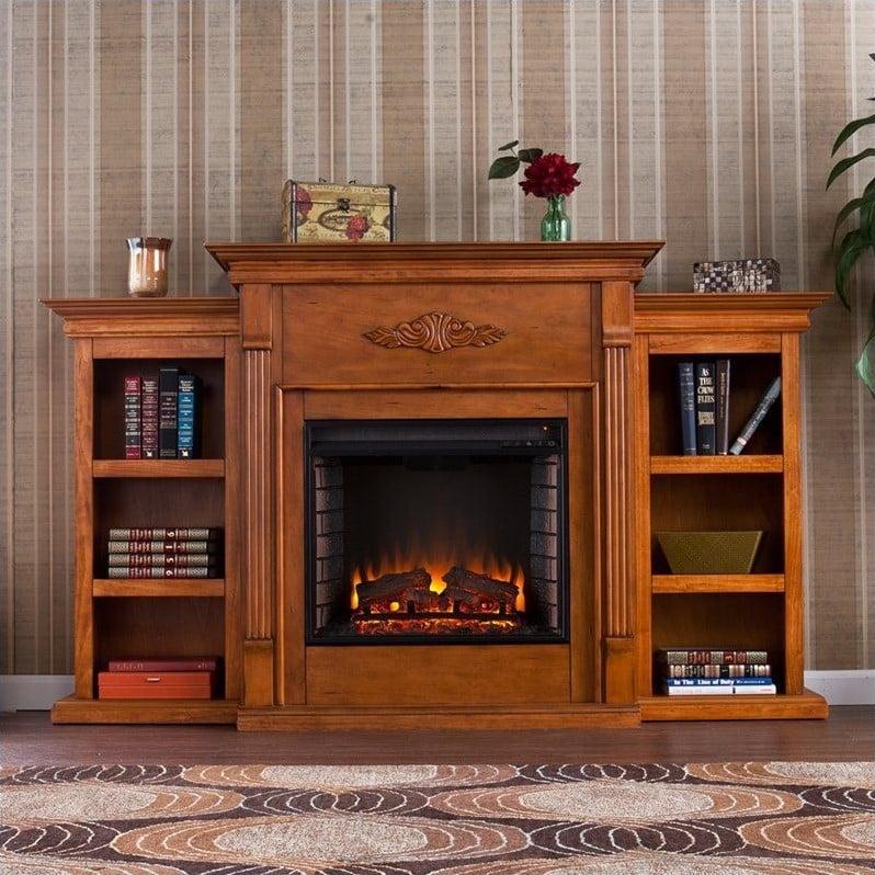 Southern Enterprises Fredricksburg Electric Fireplace w/ Bookcases in Pine