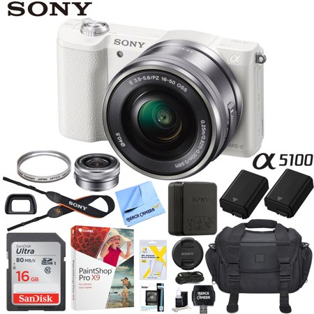 Sony a5100 Alpha Mirrorless Digital Camera 24MP DSLR (White) w/ 16-50mm Lens ILCE-5100L/W with Extra Battery Case 16GB Memory Deluxe Pro Bundle](sony dslr camera deals)