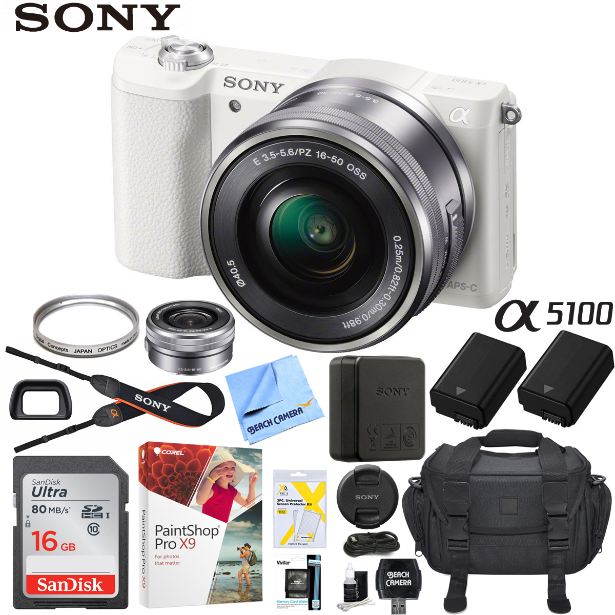 Sony a5100 Alpha Mirrorless Digital Camera 24MP DSLR (White) w/ 16-50mm Lens ILCE-5100L/W with Extra Battery Case 16GB Memory Deluxe Pro Bundle