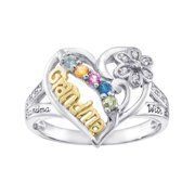 Personalized Family Jewelry Grandma's Birthstone Pride Mother's Ring available in Sterling Silver, Gold-Plated, Gold or White Gold