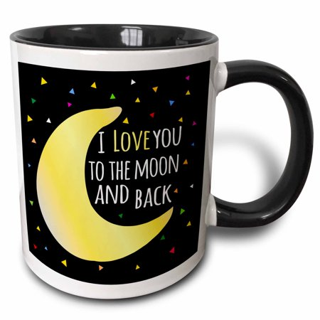 Star Sayings (3dRose I love you to the moon and back - cute saying with triangle stars - Two Tone Black Mug,)