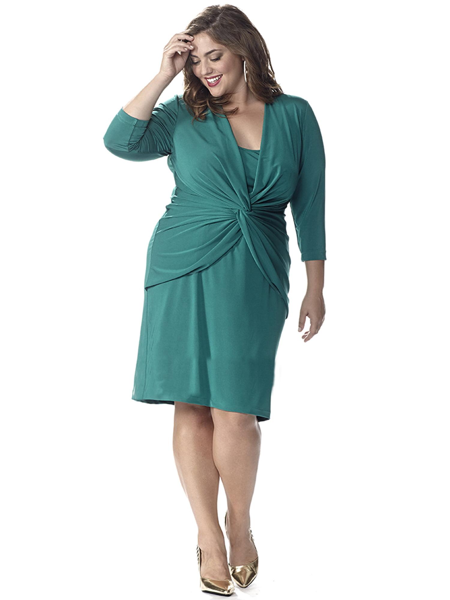 Celebrations by Sydney\'s Closet - Long Sleeve Plus Size Emerald Green Dress  with Trendy Knot Detail - Walmart.com