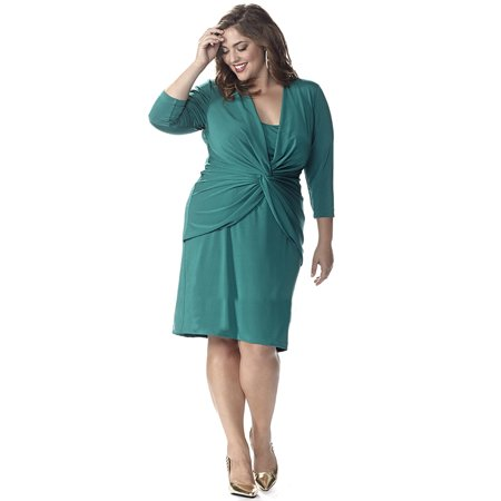 Long Sleeve Plus Size Emerald Green Dress with Trendy Knot Detail