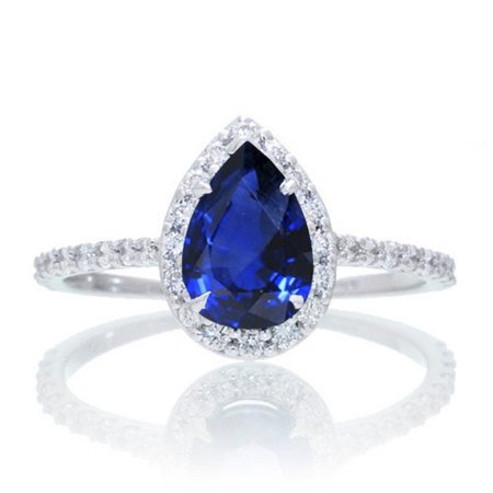 1.5 Carat Classic Pear Cut Sapphire With Diamond Celebrity Engagement Ring in 14k White Gold Sapphire and diamond engagement ring