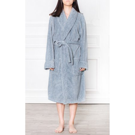 Bath Robe (Pavilia Premium Women's Fleece Robe Bathrobe Super Soft, Side Pockets, Lightweight Microfiber, Luxurious (Small/Medium, Navy))