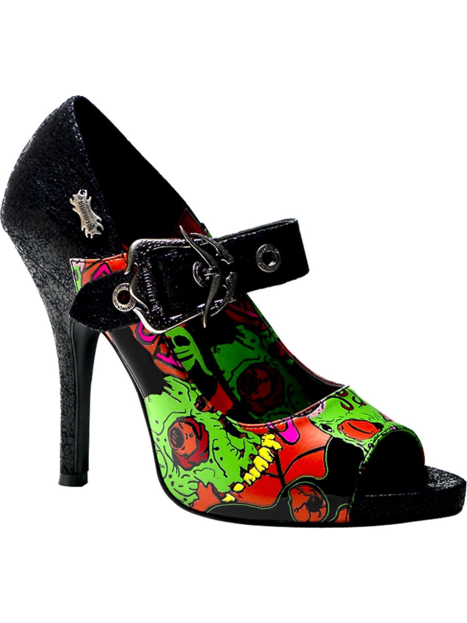 4 Screen 1/2 Inch Mary Jane Pumps Shoes Peep Toe Screen 4 Print Zombies Horror Bloody 776945