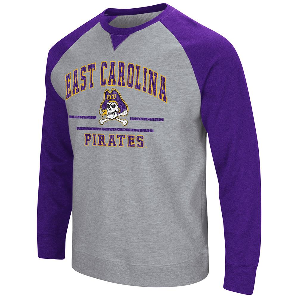 Mens NCAA East Carolina Pirates Crew Neck Sweatshirt (Heather Grey)