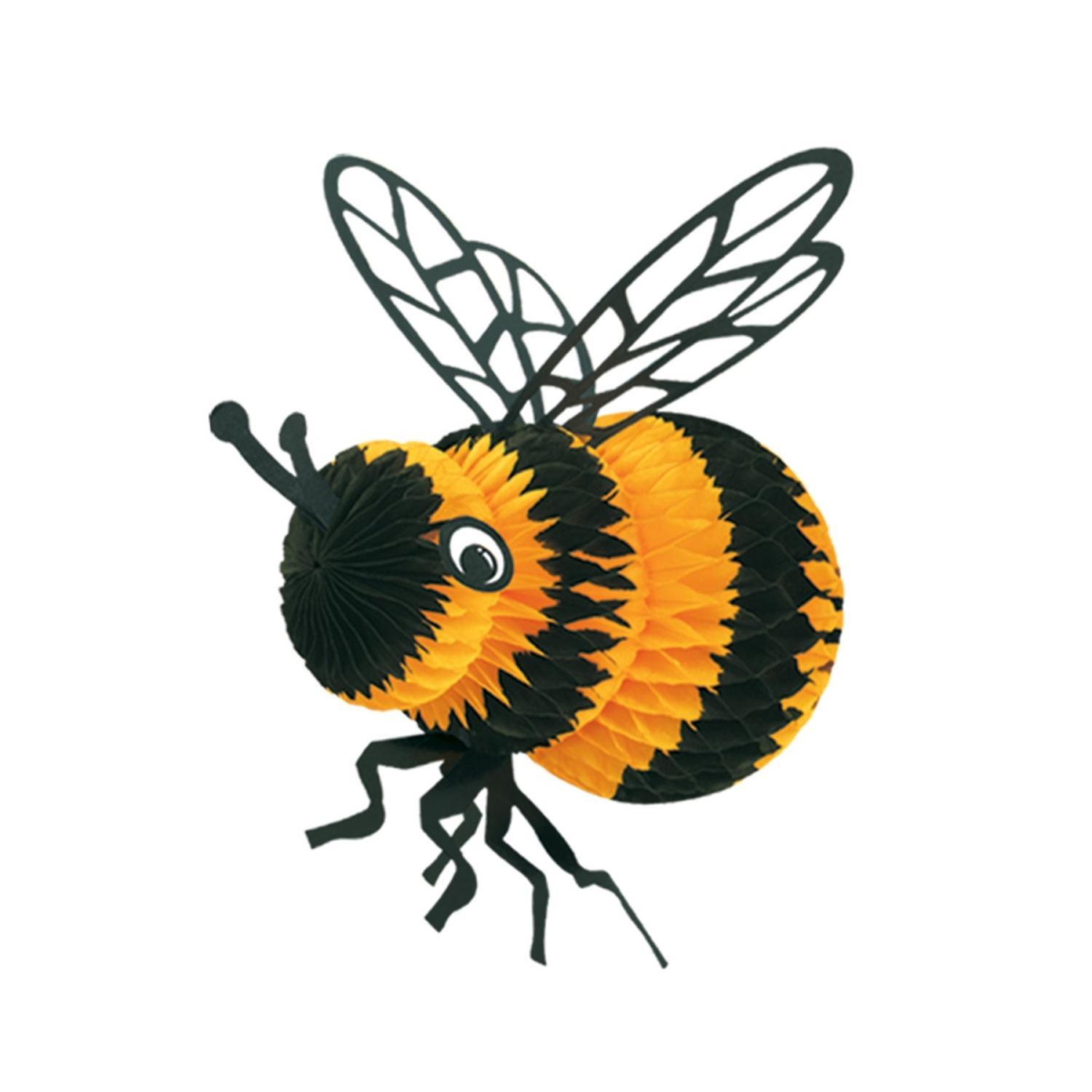 """Club Pack of 12 Black and Yellow Honeycomb Bumble Bee Party Centerpiece Decorations 8"""""""