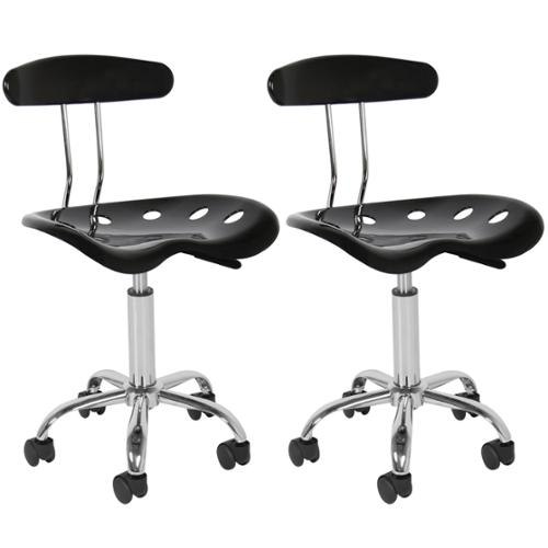 2PC ABS Tractor Seat Bar Stool Adjustable Swivel Chrome Chair Kitchen Modern BK
