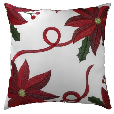 Decorative Christmas Embroidered Poinsettias Design Cushion Cover ()