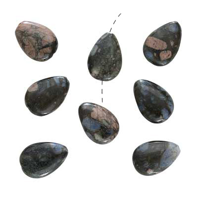 Pink Blue Rhyolite Gem Teardrops Beads 12X17mm (8 Beads)