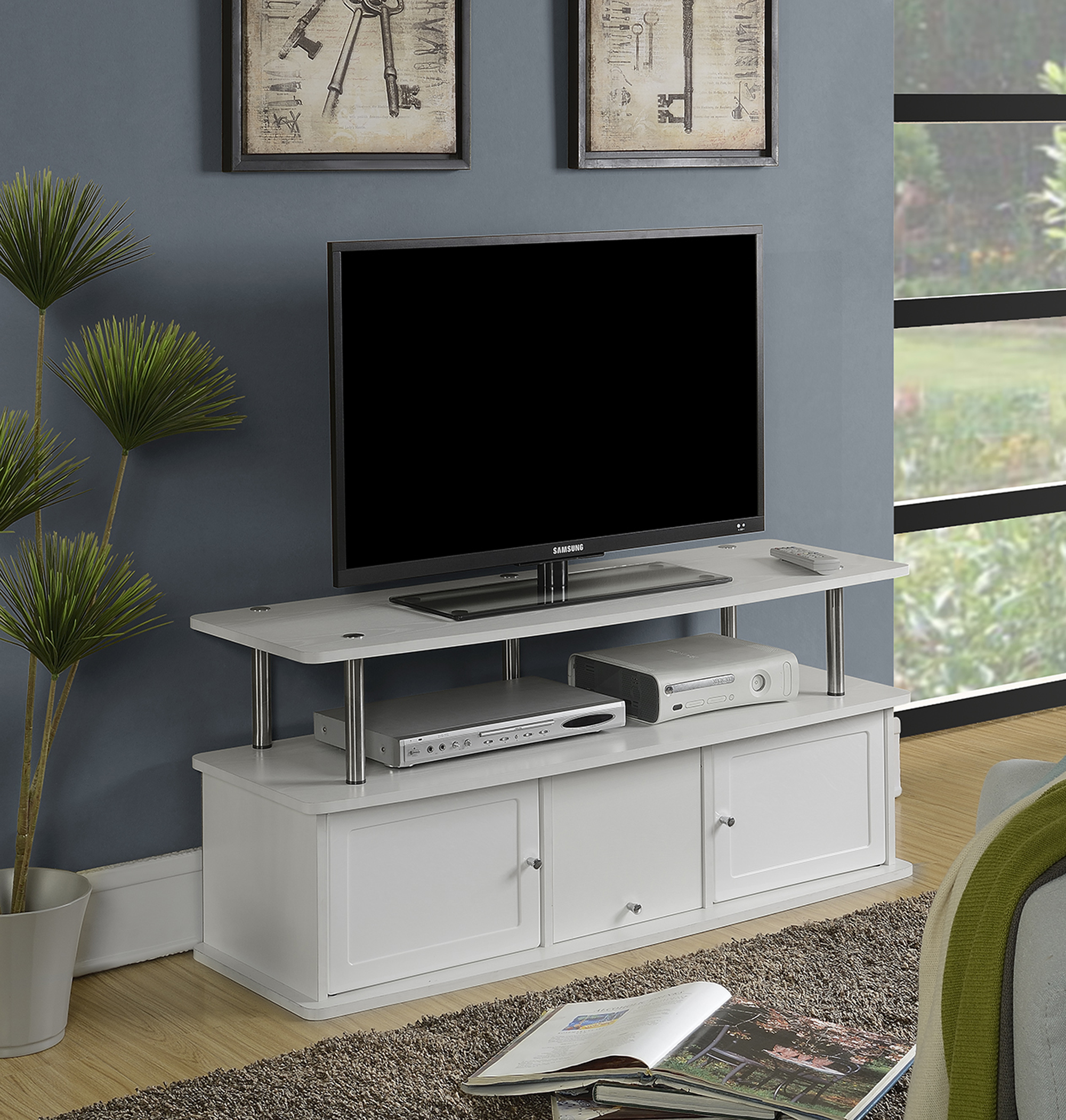 Convenience Concepts Designs2Go Cherry TV Stand with 3 Cabinets for TVs up to 50\ by Convenience Concepts Inc