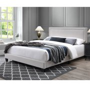 DG Casa Ocean Upholstered Platform Bed Frame with Nailhead Trim Headboard and Full Wooden Slats, Queen Size in Beige Linen Style Fabric