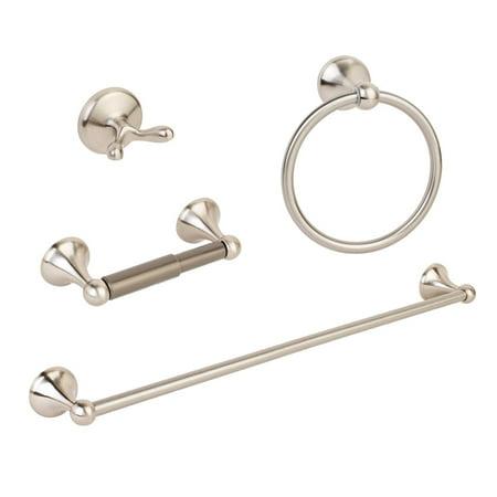 4pcs Modern Brushed Nickel Bathroom Hardware Accessory Set Towel Bar Hook Holder
