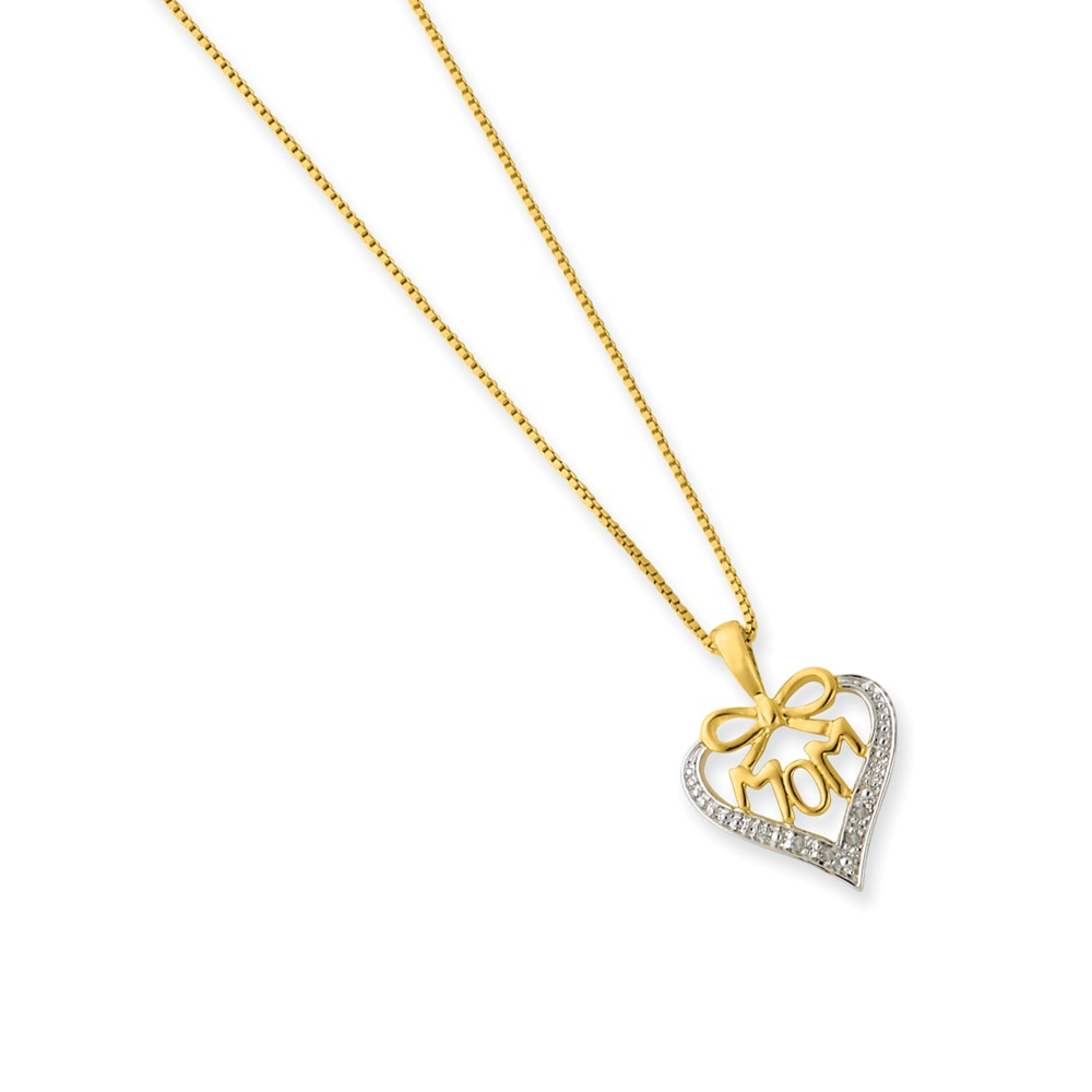 Sterling Silver Rhodium-Plated 16in Vermeil Diamond Mom Necklace