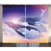 Whale Curtains 2 Panels Set, Whales Flying Dreamy Night Sky with Clouds Magical Fantasy Aquatic Design, Window Drapes for Living Room Bedroom, 108W X 90L Inches, Peach Lilac Dark Blue, by Ambesonne