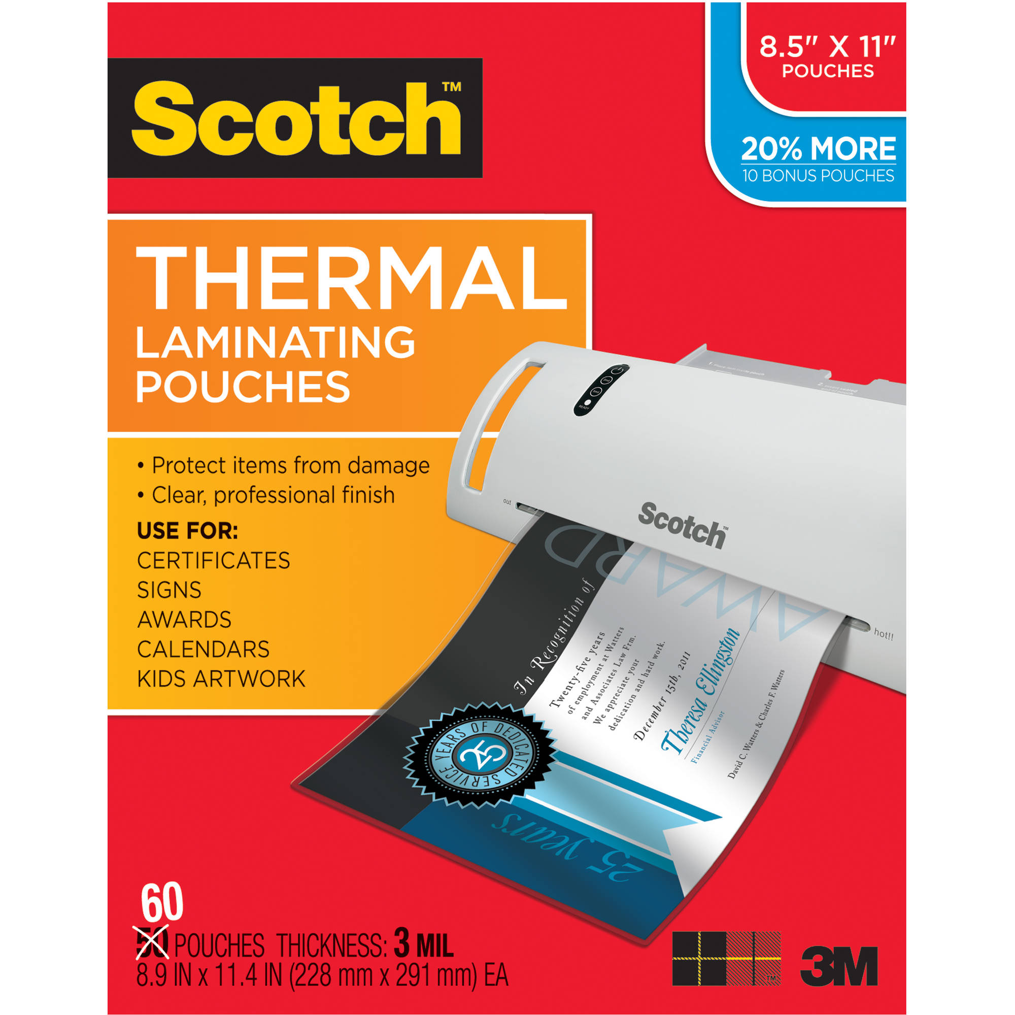 Scotch Thermal Laminating Pouch 60-Pack, 3mm