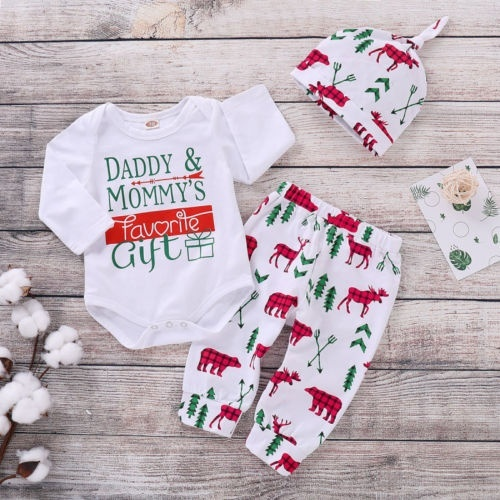 Newborn Baby Boys Girls Christmas Outfit Long Sleeve Romper Bodysuit Shirts+Deer Pants Hats 3Pcs Clothes Set