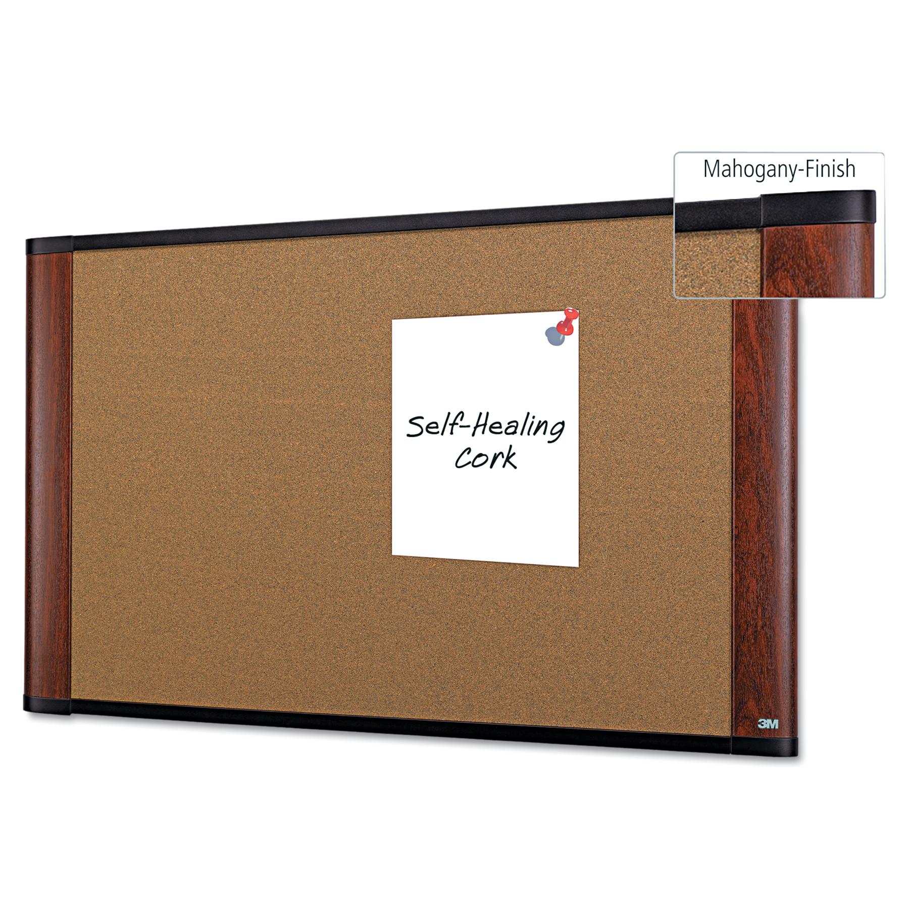 "3M Widescreen Cork Board, 48""x 36"", Mahogany-Finish Frame"