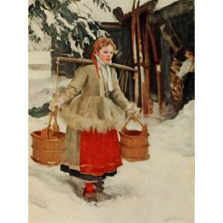 Scribners 48 1910 Swedish girl in costume Stretched Canvas - Anders Zorn (18 x (1910 Children's Costumes)