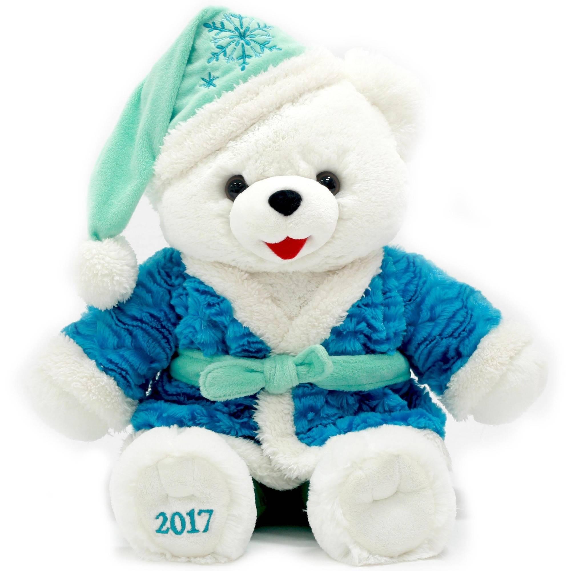 """Holiday Time 20"""" White Snowflake Teddy With Blue Bathrobe Plush Toy"""