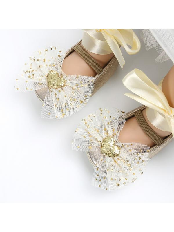 Nicesee Sequins Princess Girl Lace Bowknot Soft Sole Crib Shoes