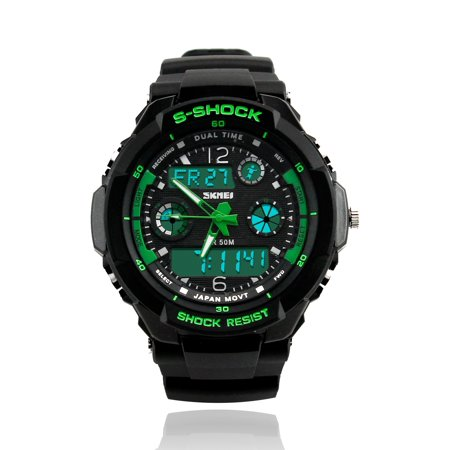 - Mens Fashion Waterpoof Analogue Military Digital LCD Alarm Date Army Rubber Sport Watch Wristwatch
