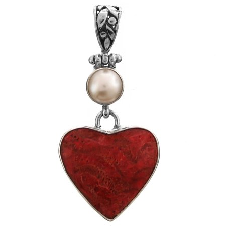 Red Sponge Coral Heart Freshwater Cultured Pearl 925 Sterling Silver Pendant, 1 3/4