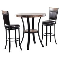 Powell Franklin 3 Piece Pub Table Set, Dark Brown by Powell Furniture