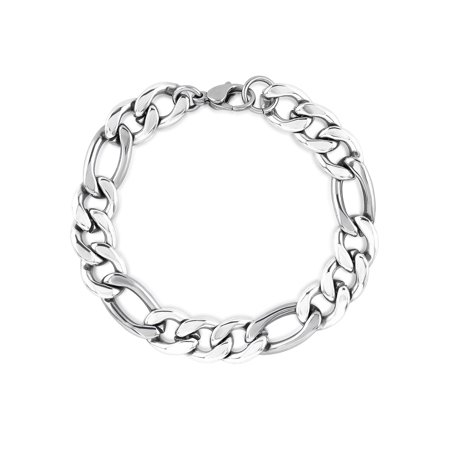 Stainless Steel Polished Figaro Chain Bracelet (11mm) -