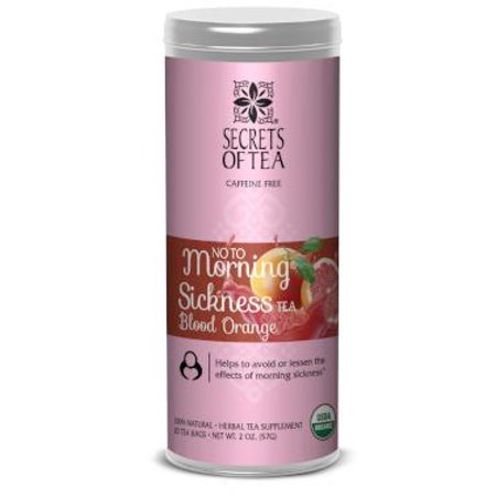 Secrets of Tea - No To Morning Sickness - Certified USDA Organic Pregnancy Tea for Mom and Baby for Morning Sickness, Cramps, Nausea, and Costipation Relief - (Blood Orange) (20 Servings)