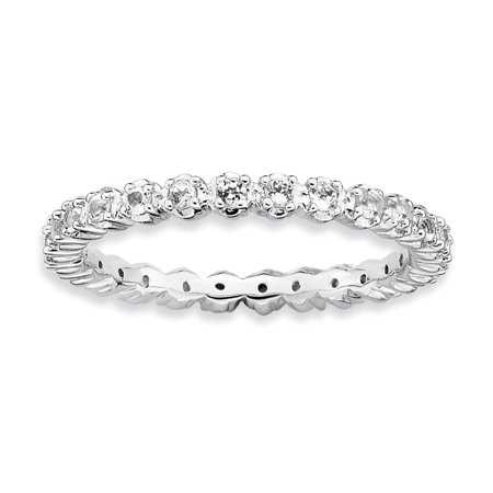 Sterling Silver Stackable Expressions White Topaz Ring Size 5 - image 3 de 3