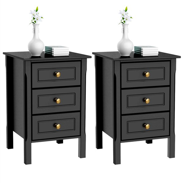 Nightstand Tall End Table Storage Wood