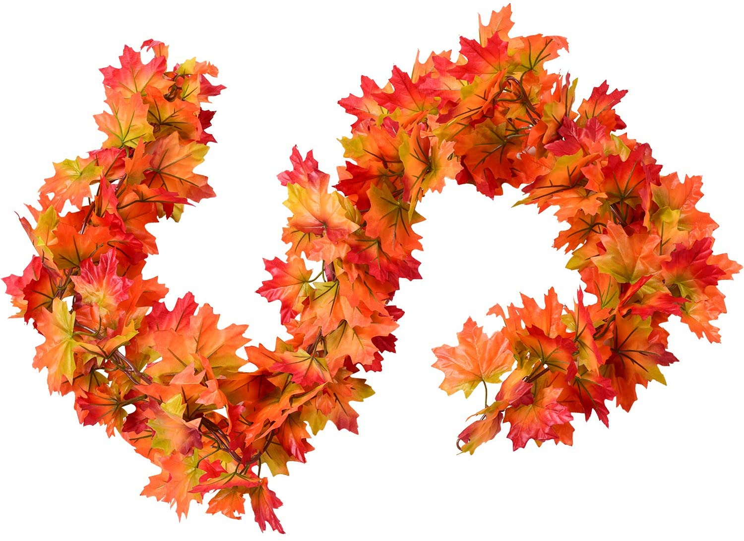 2 Pack Fall Maple Garland 5 9ft Piece Artificial Fall Foliage Garland Colorful Autumn Decor For Home Wedding Party Red And Orange Walmart Canada