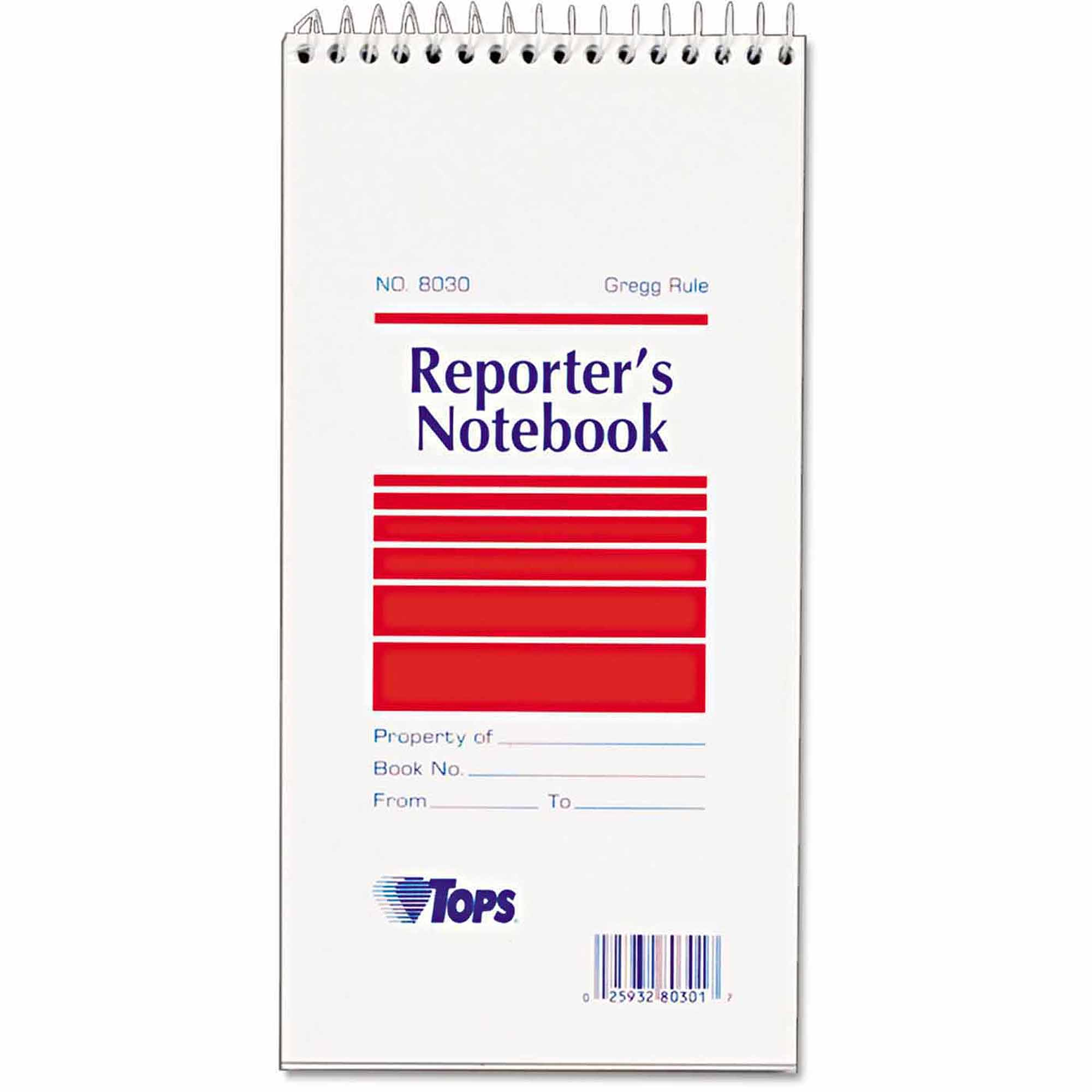 "TOPS Reporter Notebook, Gregg Rule, 4"" x 8"", White, 12 70-Sheet Pads/Pack"
