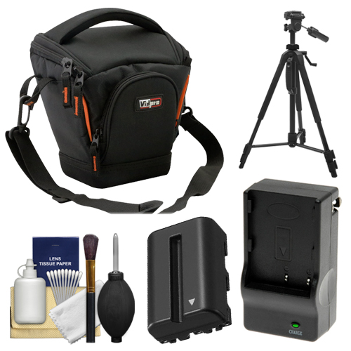 Vidpro TL-25 Top-Load DSLR Camera Holster Case (Small) with NP-FM500H Battery & Charger + Tripod + Cleaning Kit for Sony Alpha DSLR SLT-A57, A65, A77, A99