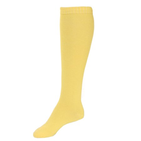 LAVRA Women's Pair of Lightweight Solid Color Full Length Socks](Yellow High Socks)