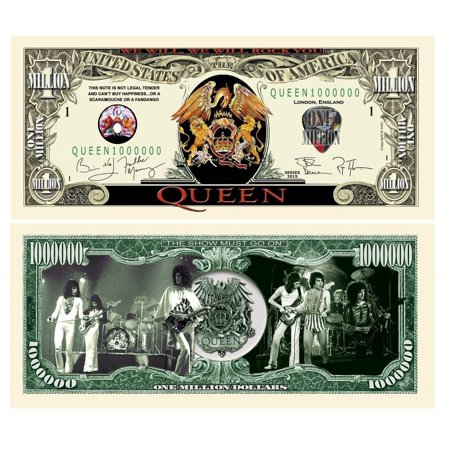 """Queen Million Dollar Collectible Bill with Bonus """"Thanks a Million"""" Gift Card Set and Clear"""