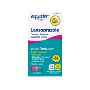 Equate Lansoprazole Delayed Release Capsules, 15 mg, treats frequent heartburn,14 Ct