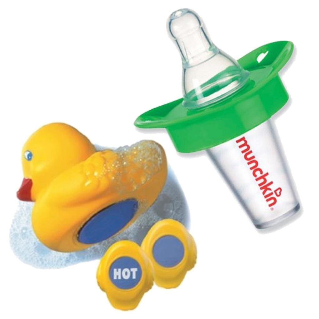 Munchkin The Medicator Pacifier Medicine Dispenser with Munchkin White Hot Bath Ducky, Green