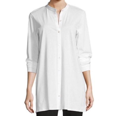 80fedef1 Eileen Fisher - Eileen Fisher NEW White Small S High-Low Tunic Top Button  Down Shirt - Walmart.com