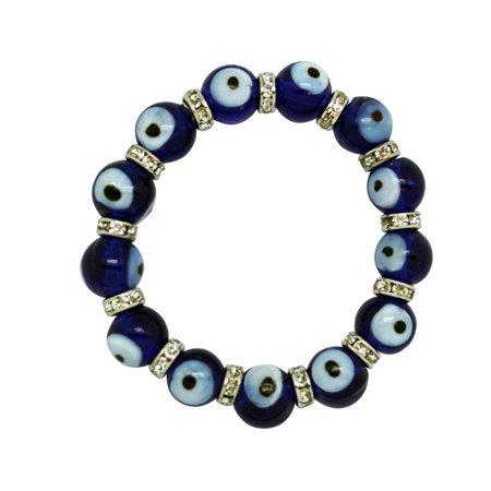 Transparent Purple Evil Eye Glass Bead Elastic (Glass Transparent Bracelets)
