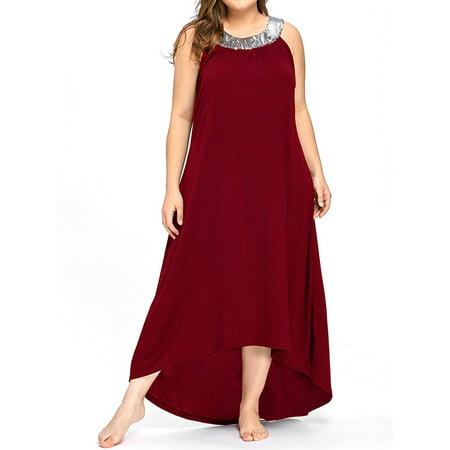 AKFashion Women's Plus Size Sleeveless Sequin Round Neck Irregular Maxi Dress (Plus Size Dresses Under 20 Dollars)