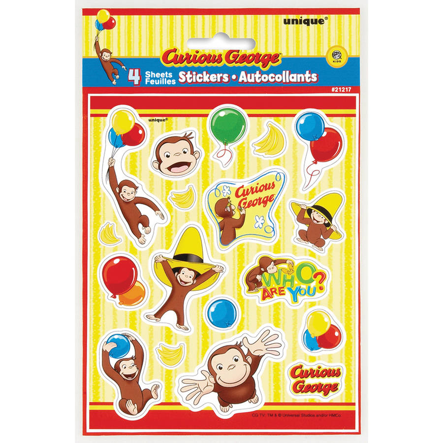Curious George Birthday Party Favours Curious George Stickers x 5 Monkey