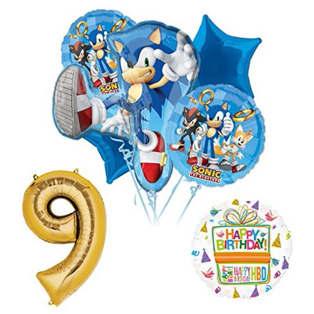 Sonic The Hedgehog 9th Birthday Party Supplies and Balloon Decorations