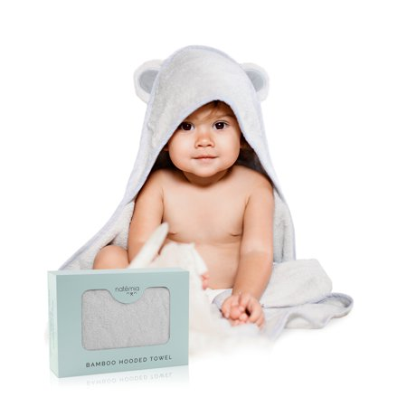 Natemia Extra Absorbent Bamboo Hooded Towel in Grey for Infants and Toddlers Extra Plush Hooded Towel