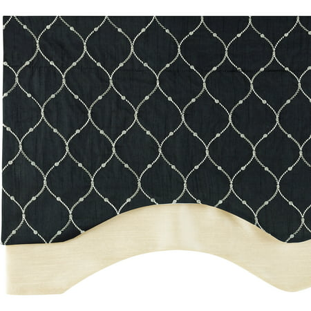 Bleecker Embroidered Layered Curtain Valance with Lining (Window Valence)
