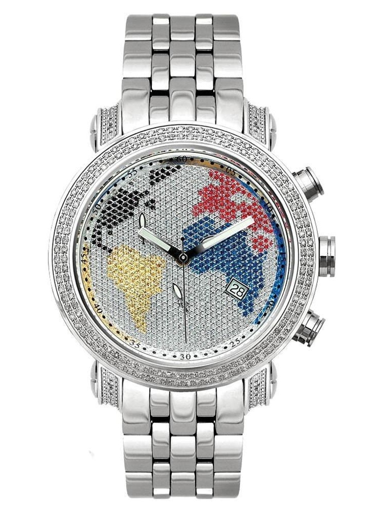 Men's Diamond Watch Classic JCL46 1.75 Ct World Map Dial